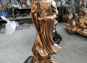 Tượng Phật Bà Quan Âm bằng đồng thiết kế đứng cao 1m27