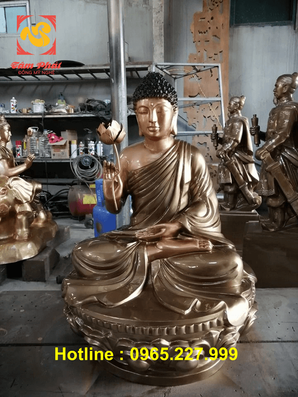 Tượng Phật Thích Ca ngồi đài sen bằng đồng cao 80cm