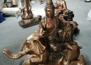 Tượng Văn Thù Phổ Hiền Bồ Tát đẹp tôn nghiêm bằng đồng cao 80cm
