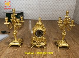 Nhận dát vàng – Thếp vàng đồ Cổ điển châu Âu – Đồng hồ và đôi chân đèn dát vàng 9999.!