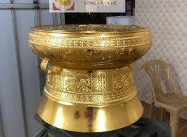 Quả trống đồng thếp vàng 9999 tinh xảo phong cách truyền thống